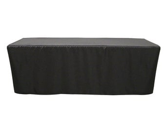 8 FT Fitted Rectangular Polyester Tablecloth Black