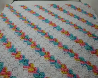 Hand Crocheted Shell Stitch in Multi striped w/White  Afghan READY TO SHIP