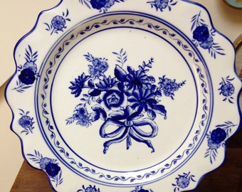 Vintage Blue and White Willow Scalloped Plate with Flowers and Bow