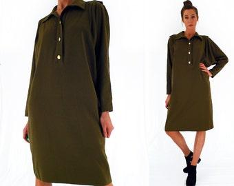 80s military dress, khaki midi dress, oversized dress, minimalist dress, batwing sleeves, fits UK 10 - 14