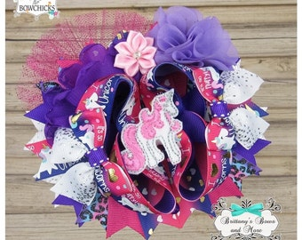 OTT Hair Bow ~ Unicorn Bow - Over the Top ~  Stacked Boutique Bow