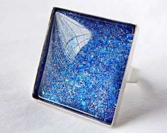 Dark Blue Glass Ring; Square Ring; Handmade Nail Polish Jewelry; Sapphire Ring; Adjustable Ring; Hand Painted Glass Jewelry; Glitter Ring
