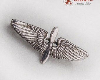 Air Force Insignia Brooch Pin Sterling Silver