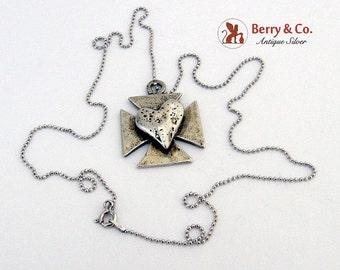 SaLe! sALe! Rustic Biker Cross Heart Pendant Chain Sterling Silver