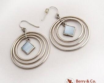 Triple Circle Dangle Earrings Blue Rhomb Centerpiece Sterling Silver