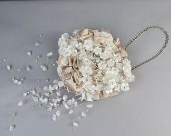CLEARANCE Wedding Accessory Satin Clutch Evening Purse Crystal Brooch