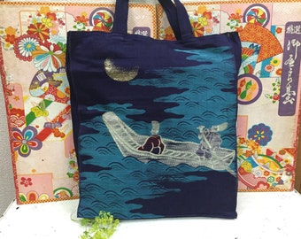 Handmade Tote Bag made from Antique Kimono