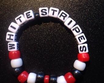 White Stripes beaded bracelet