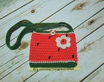 Watermelon purse. Watermelon bag. Crochet Watermelon purse. Crochet Watermelon bag. Child size watermelon bag. Crochet. Handmade.