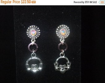 ON SALE Jeweled Pink Claddagh Stud Earrings