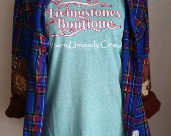 T-Shirt, Crew Neck, Tri Blend, Vintage, Living Stones Boutique, Fitted, Shirt, Country, Short Sleeved, Jersey Knit, Heathered, Seaglass