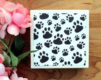 Handmade Coasters - Coasters - Drink Coasters - Paw Print Coasters - Tile Coasters - Ceramic Coasters - Ceramic Tile Coasters - Coaster Set