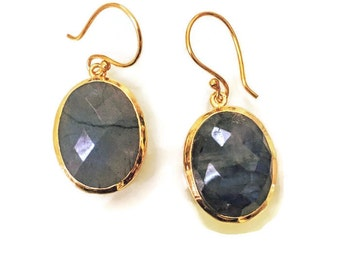 Labradorite/ Green Onyx Earrings on 18K Gold