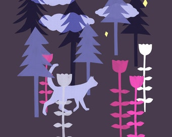 Cat in the woods print