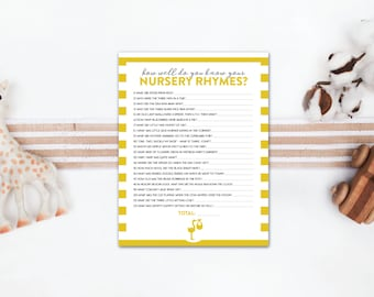 INSTANT DOWNLOAD nursery rhyme baby shower game  / nursery rhyme quiz / striped baby shower game