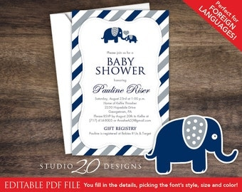 Instant Download Navy Elephant Baby Shower Invitations Editable Pdf, DIY 4x6 Printable Baby Shower Elephant Invites, AUTOFILL enabled 22G