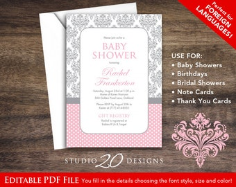 Instant Download Pink Damask Baby Shower Invitations Editable Pdf, DIY 5x7 Pink Grey Damask Baby Shower Invites AUTOFILL enabled 51A