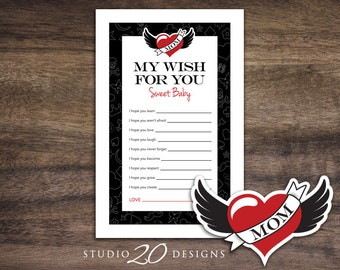 Instant Download Winged Heart Tattoo Baby Shower Wishes for Baby Game Cards, Black Red Printable Wish for Baby Rockabilly Baby Shower #28A