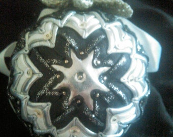Gorgeous Black,  White and Silver Quilted Ornament.