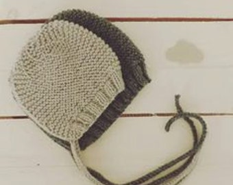 simple knitted baby bonnet - newborn hat - knit bonnet baby props - baby hat photo props - handmade props - baby crochet - knit bonnet prop