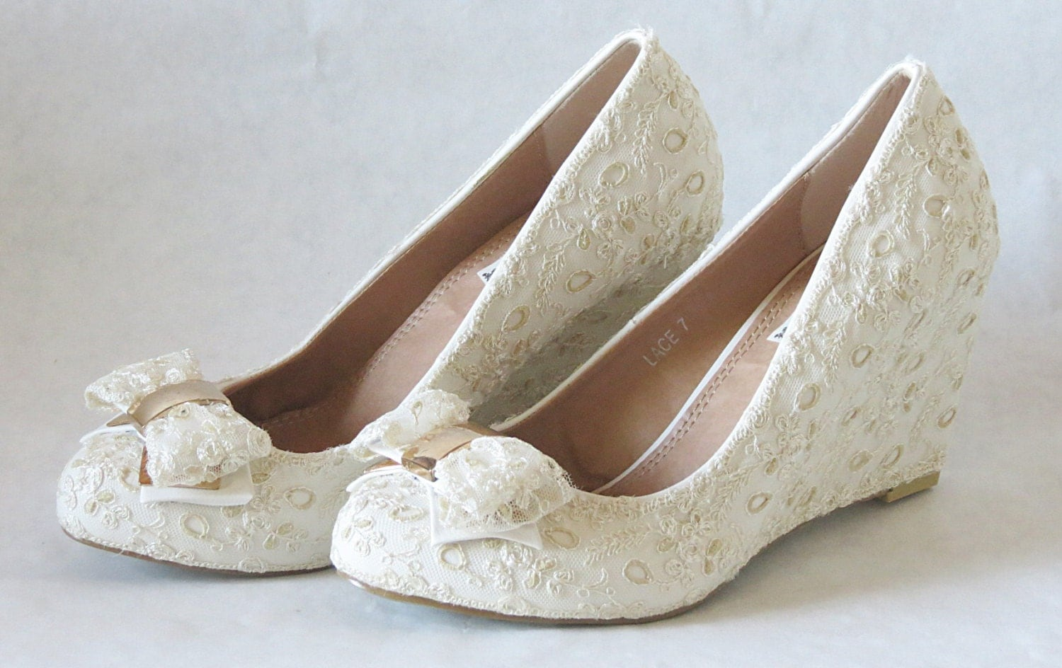 WeDDING LACe Wedges Ecru Nylon Vintage French By MaryMarryMe