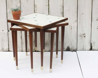 Vintage Mid Century Stacking Tables, Set of Three Tile Top with Wood Taper Legs