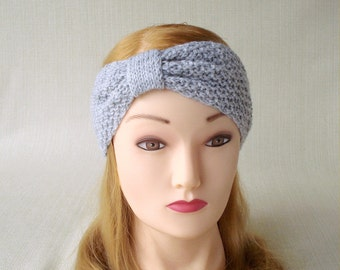 Winter headband Knit headband Knit headband ear warmer Womens turban headband Gray headband Knit headwrap Hand knit head band Christmas gift