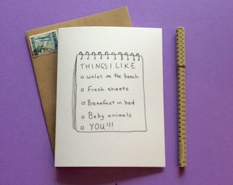 Funny valentines card // Things i like