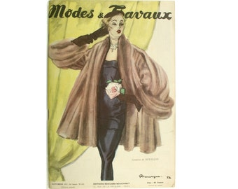 Vintage French fashion magazine Modes & Travaux 1953, fashion news.