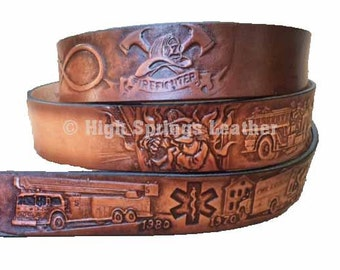 Firefighter Leather Name Belt
