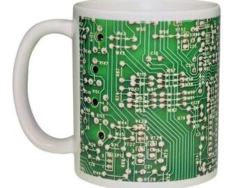 Green Circuit Board Image Coffee or Tea Mug