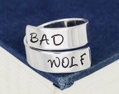 Bad Wolf - Doctor Who - Adjustable Aluminum Wrap Ring - Style B
