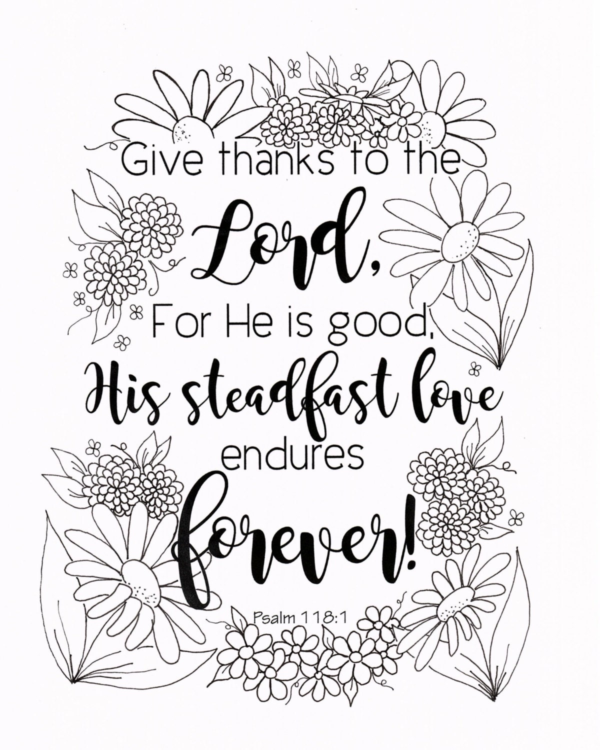 Give Thanks Coloring Page Psalm