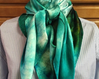 Wild Rags - Hand dyed, exquisite Silk Charmeuse  44 x 44 Square scarf in Teal, Green, Blue