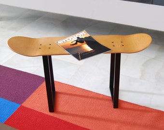 Skateboard Furniture and skateboarder gifts ideas for decoration - bench or Stool, honey