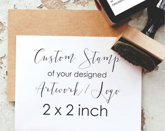 2x2 Custom Stamp, 2 Inch Custom Logo Stamp, Business Card Stamp, Personalized Stamp - Custom Business Stamp, Custom Rubber Stamp