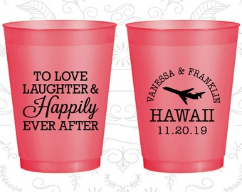 Love Laughter, Imprinted Frosted Cups, Destination, State Wedding, Red Frosted Cups (04)