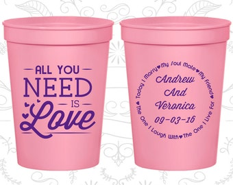 All you Need is Love Cups, Wedding Favor Drink Cups, Love Wedding Cups, Romantic Wedding, Hearts Cups, wedding cup favors (419)