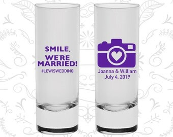 Smile We are Married Shooters, Printed Tall Shot Glasses, Hashtag Wedding Shooters, Camera, Wedding Shooters (226)