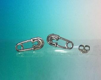 925 Solid Sterling Silver SAFETY PIN Earrings-Stud Earrings-FUN Jewelry-Small-Oxidized