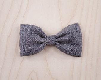 Charcoal Linen Hair Bow