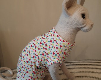 SALE ............ Sphynx Cat clothing - Dotty top available in Sizes Kitten, Small, Med & Large