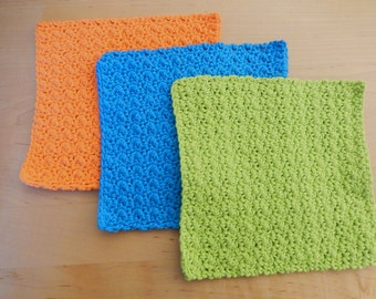 Dish Cloths (3) Lime Green, Blue, Orange .. COTTON .. Ready to Ship