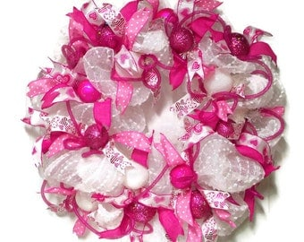 Pink and White Valentines Wreath ,  Valentine Wreath, Door wreath, Frilly Wreath, Hearts Wreath
