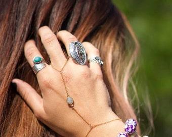 Labradite 14k gold Slave Bangle Bracelet