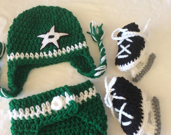 Dallas Stars Baby Crochet Hockey Earflap Hat, Diaper Cover, and Skate Booties .