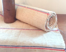 5,08 yards Grain sack fabric, red and blue antique linen fabric by the yard, pillow case, table runner, place mats, upholstery, burlap