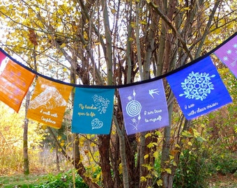 Chakra Prayer Flags for Mediation and Contemplation Silk 8x7 inches