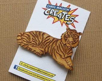 Wooden tiger brooch - laser cut brooch