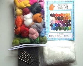 Needle Felting Starter Kit (40 x 5g Colours (200g), 6 Felting Needles, Foam Mat) merino wool